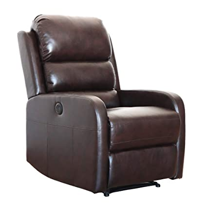 Pleasant Irene House Pu Leather Power Recliner Chair With Usb Port Brown Pabps2019 Chair Design Images Pabps2019Com