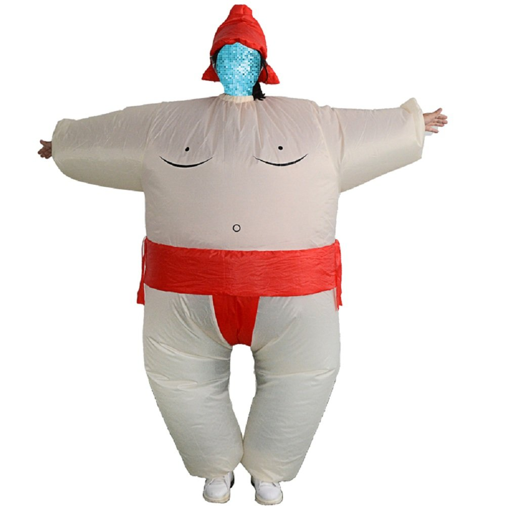 YOWESHOP Sumo Wrestling Wrestler Inflatable chub Mega Suit Inflatable Zentai Costume Blow Up Suit (Sumo Wrestler Red)