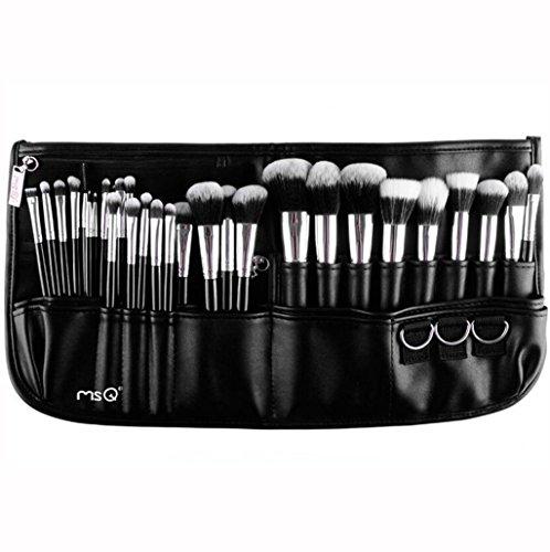MSQ Makeup Brushes Set 29pcs Professional Cosmetics Brushes with Belt Waist Makeup Bag (Foundation, Powder, Creams, Liquids & Eye Brushes) for Women/Girls/Artists/Holiday gifts/travel -