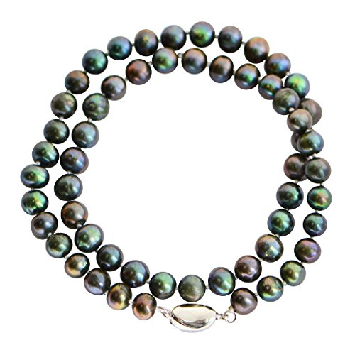 """7-8mm Peacock Black with Green Accent Round Freshwater Pearl Necklace Stick Clasp 35"""""""