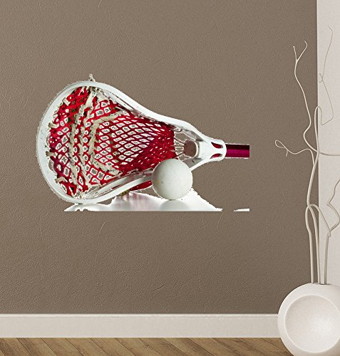 Wallmonkeys White Lacrosse Head with Red Meshing Peel and Stick Wall Decals WM18527 (24 in W x 16 in H)