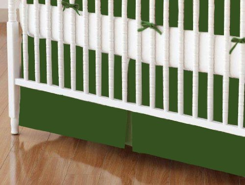 SheetWorld - Crib Skirt (28 x 52) - Flannel - Olive Green - Made In USA