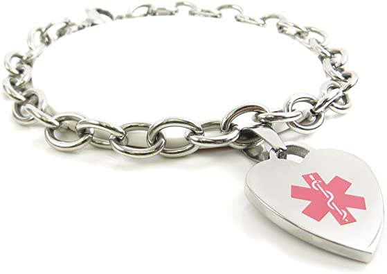 Steel Hearts White Made in USA Pre-Engraved /& Customizable Fibromyalgia Toggle Medical ID Bracelet My Identity Doctor