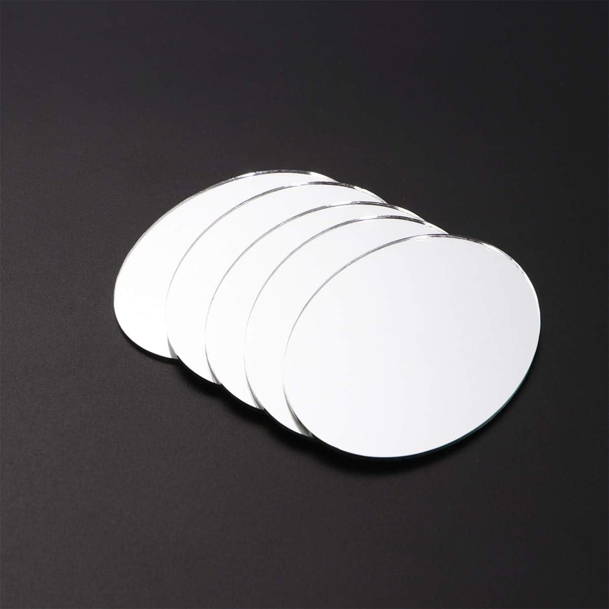 Piccolo Stile Healifty Piastrelle a Specchio Rotonde 20 Pezzi per Artigianato Fai da Te