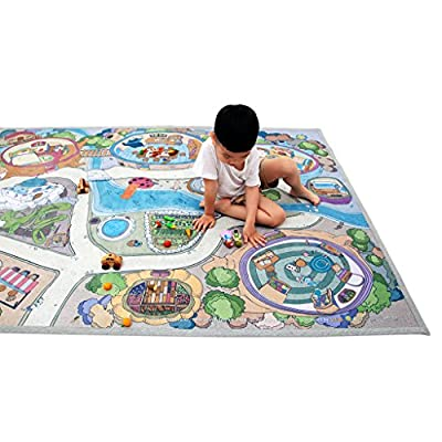 "[LEPAPA] 78.7"" x 55.1"" Baby Kids Toddler Le Bonheur Microfiber Fairy Tale Lite Play Mat Carpet for Indoor and Outdoor Use, 3D Graphic, Interactive & Complex Play"