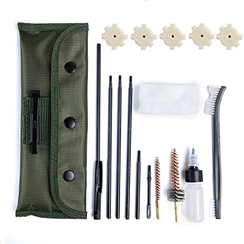 NIDAYE .223/5.56 M16 and AR-15 Cleaning kit - Field Cleaning Kit for All M16/AR-15/M4 Rifle Gun Mil-Spec Quality with Olive Green Bag