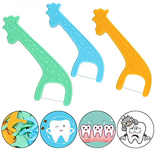 Kid's Dental Floss Picks with 4 Travel Handy Cases Unflavored Flosser Picks-Pack of 24 Tooth Flossing Tools by Jin Jia