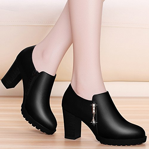 Forty Small Leather College Heel Shoes Professional Single Shoes KPHY Leather Round Wind Female High Heels Shoes Shoes English Mother'S Heads Students' pA7qR