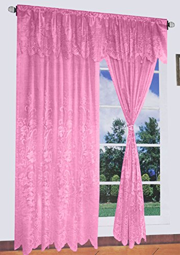 Cheap Floral Lace Window Curtain Set 60×84+18 (Peach)