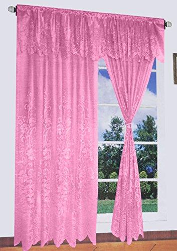 Floral Lace Window Curtain Set 60x84+18 (Peach)