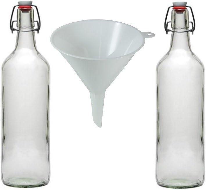 Viva Haushaltswaren - 2 Botellas de Cristal 1 L con Cierre de Clip para llenar con Embudo de diámetro 12 cm