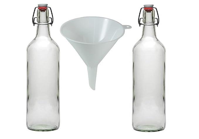 hocz Juego de 10/Plancha Botellas de Planchar Botella Botellas de Cristal 200/ML, con Cierre, rellenables, Incluye Embudo de 5/cm de di/ámetro