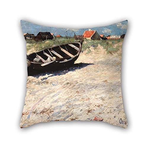 Loveloveu Throw Pillow Covers Of Oil Painting Oscar Björck - Boat At Skagen's South Beach,for Home Office,bar,boy Friend,car,kitchen,bench 18 X 18 Inches / 45 By 45 Cm(both Sides) (Oscar Bench)