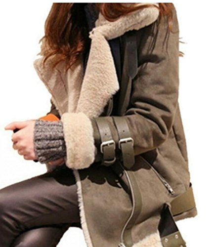 Belted Lined Coat (M&S&W Womens Wool Lined Belted Parka Coat Slim Faux Suede Jacket Khaki XXL)