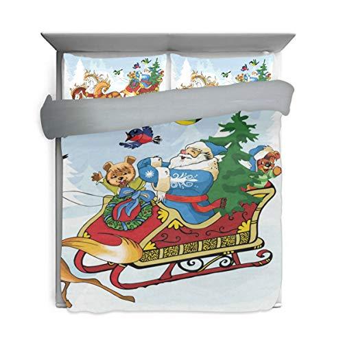 DEYYA Santa Claus and The Horses Pattern Duvet Cover Kids Bedding 3 Piece Set, Wash Cotton Back Surface Gray for Children's Gift (1 Duvet Cover, 2 Pillowcases)