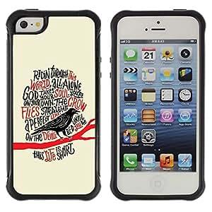Suave Caso Carcasa de Caucho Funda para Apple Iphone 5 / 5S Raven Crow Black Bird Poem Poe Edgar / JUSTGO PHONE PROTECTOR