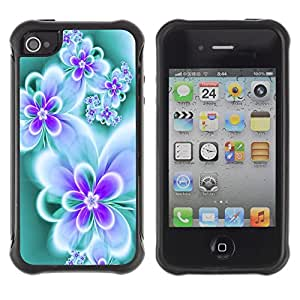 All-Round híbrido Heavy Duty de goma duro caso cubierta protectora Accesorio Generación-II BY RAYDREAMMM - Apple iPhone 4 / 4S - Floral Butterfly Teal Vibrant Neon Colors
