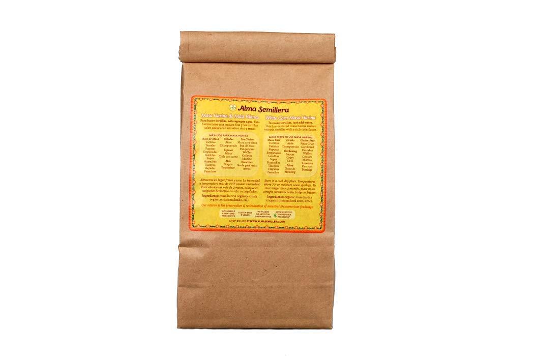 ALMA SEMILLERA White Corn Masa Harina - Non-GMO, Gluten Free, Vegan, Fine Texture (1lb)