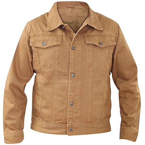 Coton Denim Fit Pocket Regular Casual Veste 100 Brown Poitrine New Summer Light Bouton Mens 54Uw00