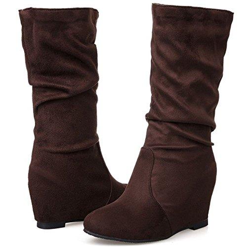 Women's Ankle TAOFFEN High Heels Hidden Brown Increasing Boots Wedges U77qdX
