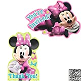 Minnie Mouse 8 ct. Invitations and 8 ct. Thank You Cards Birthday Party Bundle - Includes 1 Maze Game Activity Card by ClassicVariety