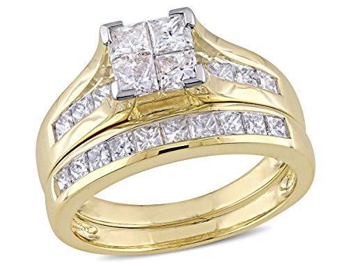 Princess Cut 2.0 Carat (ctw) Diamond Engagement Ring & Wedding Band Set in 14K Yellow Gold