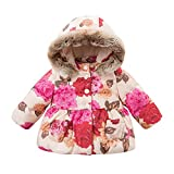 DAVE&BELLA Baby Girl Floral Jackets Toddler Hooded Peony Outerwear Children Padding Coat 18M-7T (3T)