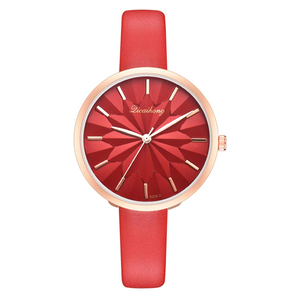 yanbirdfx Fashion Women Solid Color Sunflower Big Round Dial Soft Band Quartz Wrist Watch - Red