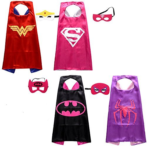 SAIANKE Girl's Superhero Cape and Mask Costumes set of 4