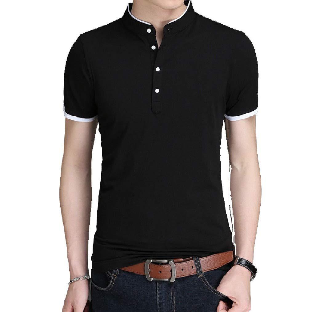 Vska Mens Short Sleeve Stand Collar Luxury Summer Leisure Solid Tees Top