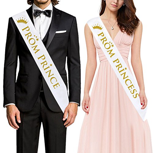 "ANWNK PROM PRINCE"" And ""PROM PRINCESS"" Sash – Graduation Party School Party Accessories, White with Gold Print Prom decoration - Prom Court Sashes"