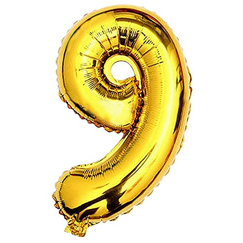 ld Foil Balloons Letters A to Z Numbers 0 to 9 Wedding Birthday Holiday Party Decoration (Number 9) ()