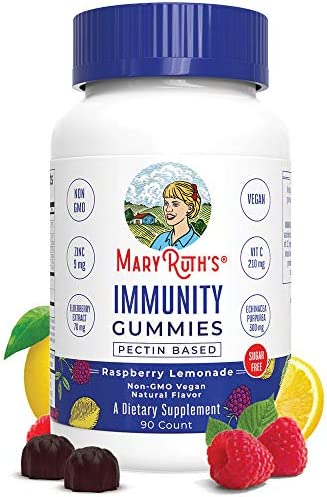 Immunity Gummies Elderberry 5-in-1 for Kids – Adults by MaryRuth s – Organic Ingredients – Echinacea, Vitamin C Vitamin D – Vegan Non-GMO Gluten-Free Raspberry Lemonade 90ct