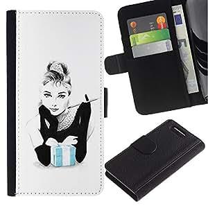 For Sony Xperia Z1 Compact D5503 Case , Smoking Woman Movie Star Actress - la tarjeta de Crédito Slots PU Funda de cuero Monedero caso cubierta de piel