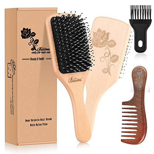 【Upgraded】Beech Wooden Hair Brush-Boar Bristle Paddle Detangler Hair Brush Set with Nylon Pins for Women,Men,Kids,Add Shine for Thick, Fine,Curly, Dry& Damaged Hair,Wooden Comb & Cleaner Tool Included