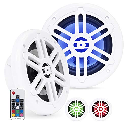Belva BMRGBWH 500W White Pair of 6.5-inch 2-Way Water-Resistant Marine Speakers with RGB Illumination ()