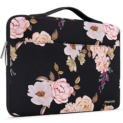 MOSISO Laptop Sleeve 360 Protective Case Bag Compatible with 13-13.3 inch MacBook Pro, MacBook Air, Notebook with Back Trolley Belt, Polyester Shockproof Carrying Case Handbag, Pink Peony
