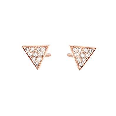 6be10f0ed Amazon.com: Diamond Triangle Stud Earrings Diamond Pyramid Earrings 14K  Rose Gold Woman Ear Jewelry: Jewelry