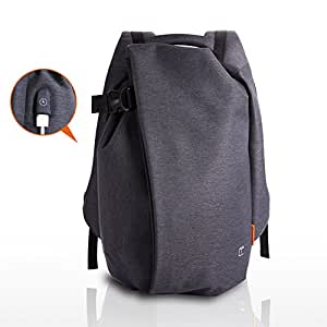 TANGCOOL Daypack Lightweight Backpack School College Business Durable Mens Backpack Hiking Outdoor Traveling Waterproof Backpack Fits 15 Inch Laptop with USB Charging Port, Black