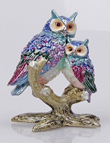 Owl Mommy and Baby Trinket Box Jeweled Pill Box Decorative Animal Rhinestone (Trinket Box Hinged Pill)