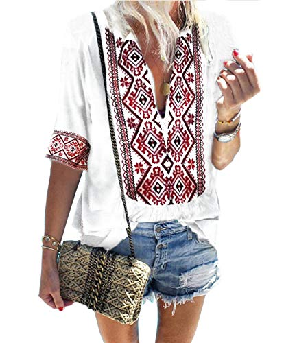 Mansy Women's Summer V Neck Boho Print Embroidered Shirts Short Sleeve Casual Tops Blouse ()