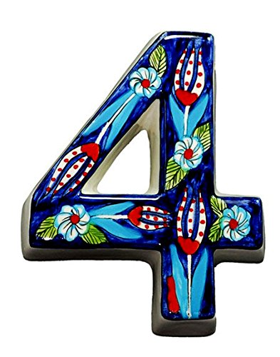 Large Ceramic House address number 4, Dark Blue, 4.7inch Tall, Hand Decorated, House number signs, Door numbers, Housewarming gifts ()