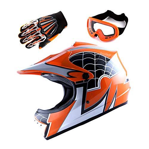 Motocross Helmet Orange (Motocross MX BMX Bike Youth Spider Red Helmet (Size: Medium) + Goggle + Skeleton Glove (Size: Medium))