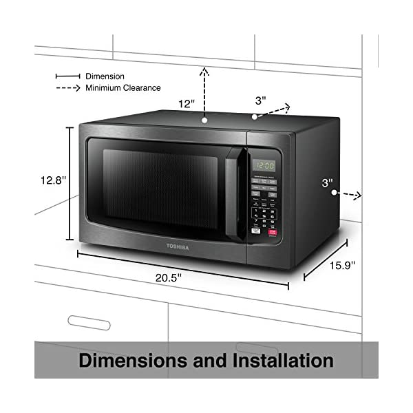 Toshiba EM131A5C-BS Microwave Oven with Smart Sensor Easy Clean Interior, ECO Mode and Sound On-Off, 1.2 Cu.ft, Black… 5