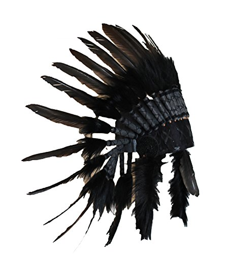 Short Black Swan Feather Headdress | Native American Indian Inspired. -