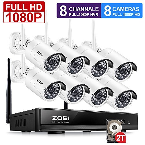 ZOSI 1080P 8CH HD Wireless Security Camera System 8Channel 1080P NVR 2TB Hard Drive and (8) HD 2.0MP 1080P Indoor/Outdoor Bullet IP Cameras 65ft Night Vision, Customizable Motion Detection by ZOSI (Image #1)