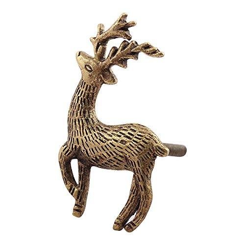 15 Piece Metal Golden Swamp Deer Artistic Rust Free Dresser Knobs New Collection Door Pulls ()