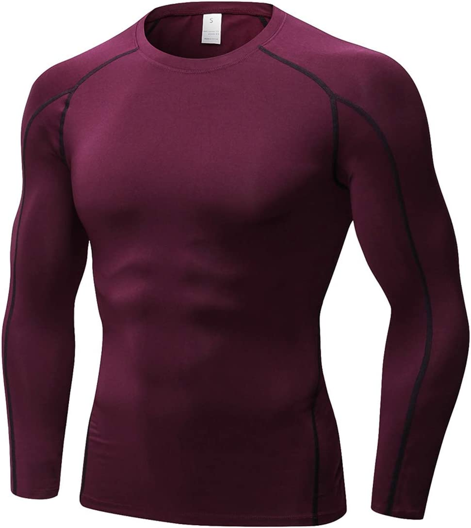 TOPTIE Men's Cool Dry Skin Fit Long Sleeve Compression Base Layer Shirt
