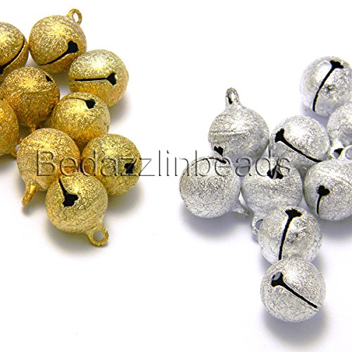 10 Big 14mm Round Textured Stardust Jingle Bell Dangle Charms With Loop (Gold)