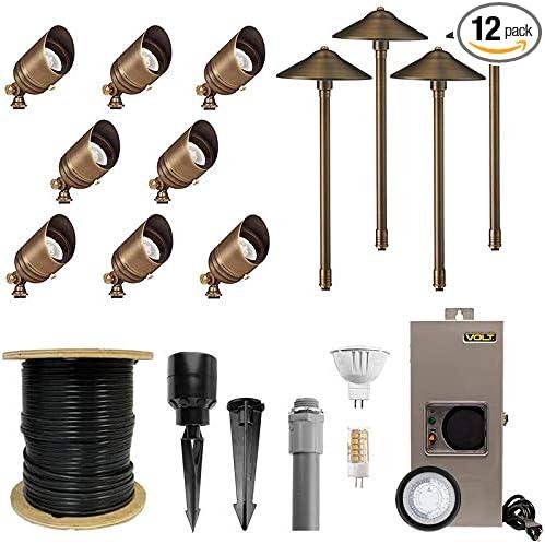 Volt 8 Spotlight 4 Path Light Complete Kit Brass Amazon Com